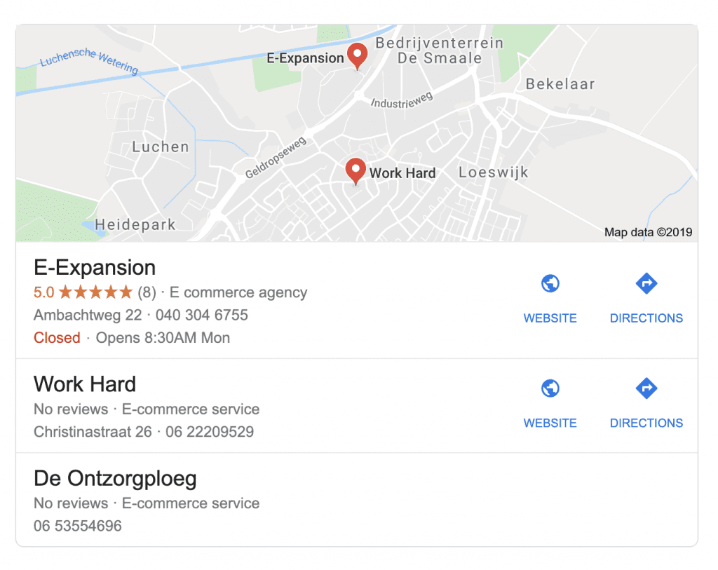 E-Expansion | Lokale resultaten